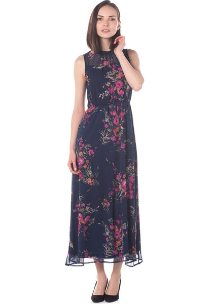 Floral Chiffon Cut In Maxi Dress