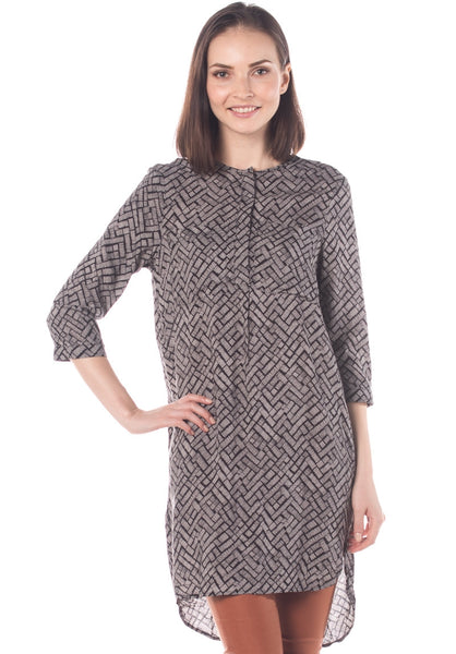 Weaved Print Long Sleeves Kaftan Dress