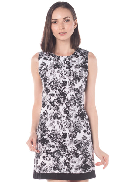 Floral Stretch Cotton Shift Dress