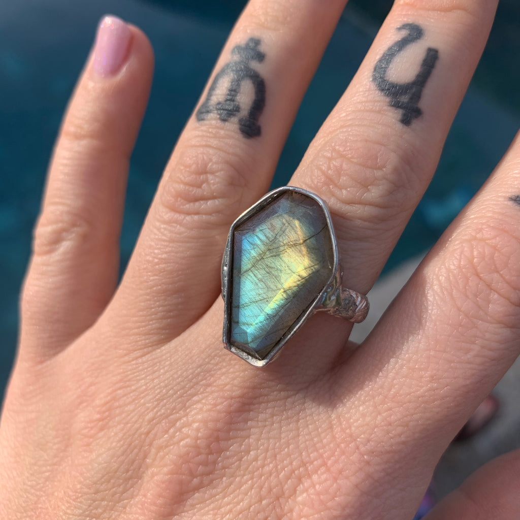 Faceted  Labradorite Coffin ring