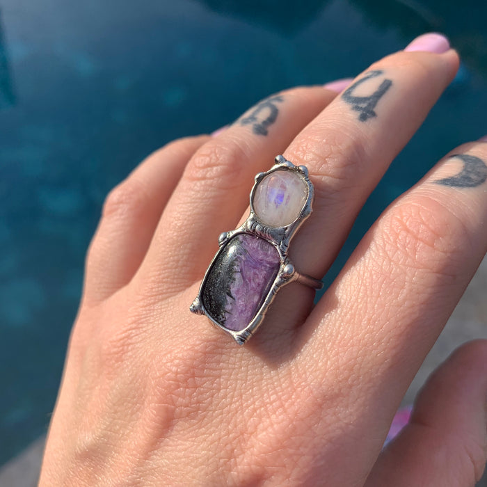 Faceted Moonstone and Charoite ring