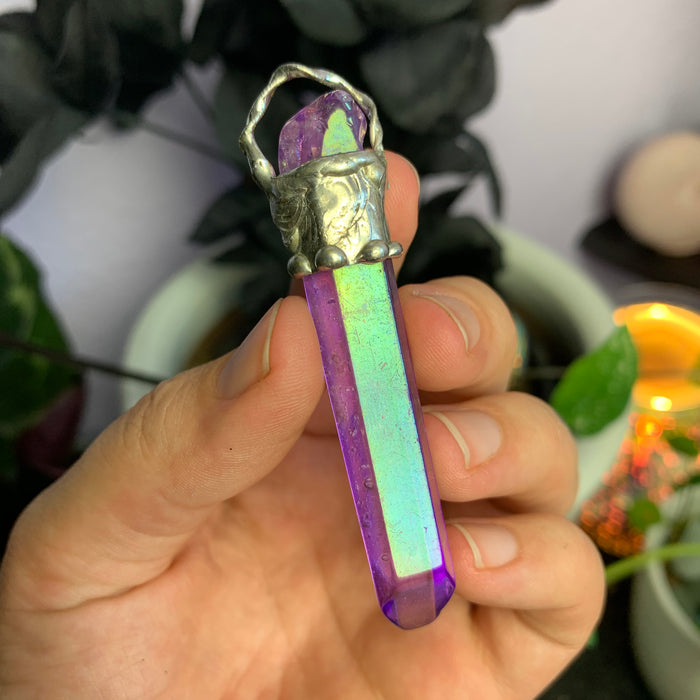 Purple Jelly Aura Quartz pendant no.2
