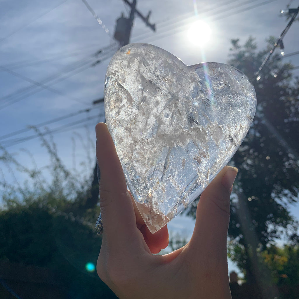 Brazilian clear Quartz heart