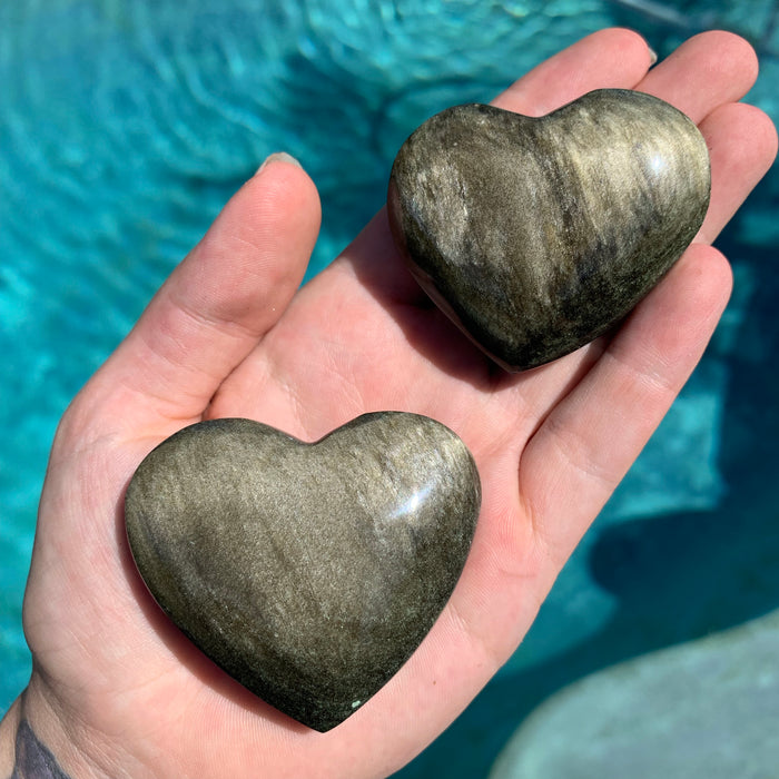 Golden Sheen Obsidian Heart (one pc)