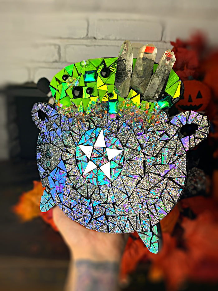 Dichroic glass mosaic Cauldron