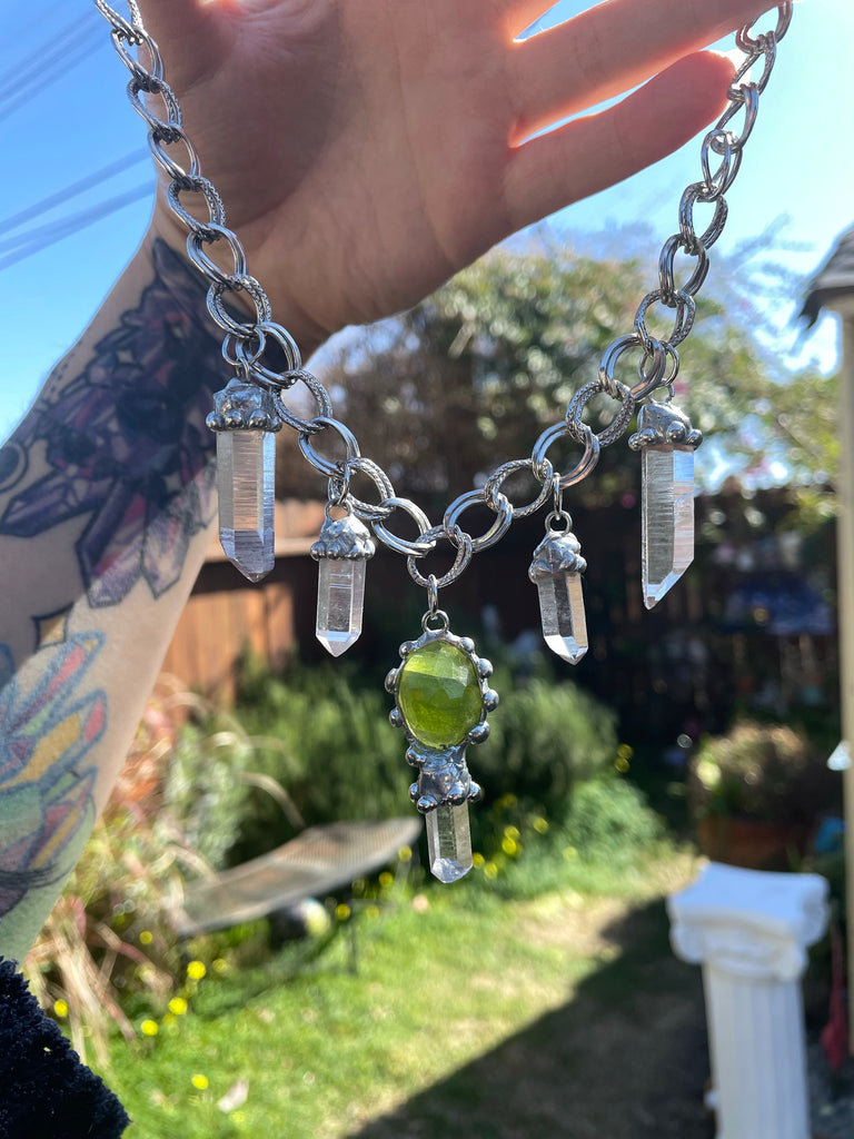 The Atlas Choker, feat. Faceted Peridot and five Lemurian Quartz Seeds