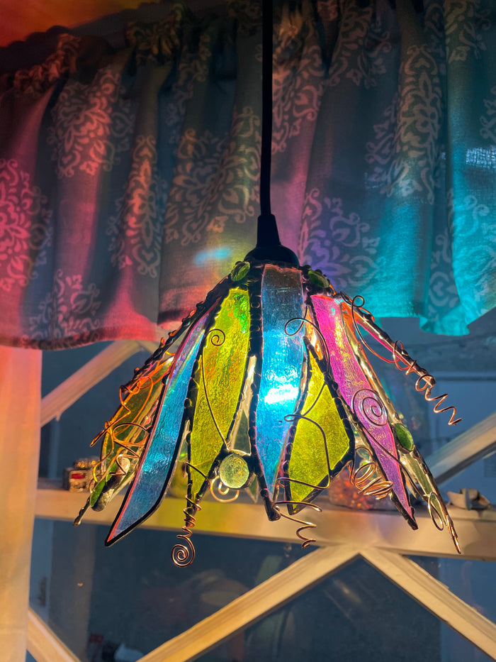 One of a kind dichroic glass Fairy Lamp