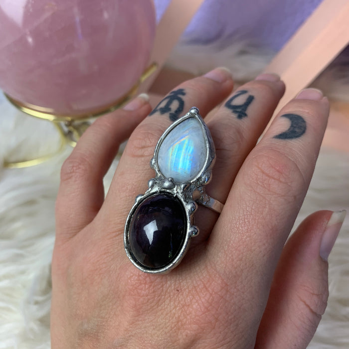 'As Above, so Below' Moonstone and Star Garnet ring