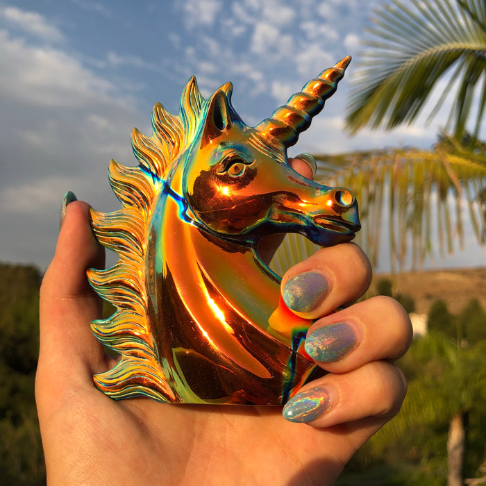 Sunset Obsidian Unicorn carving