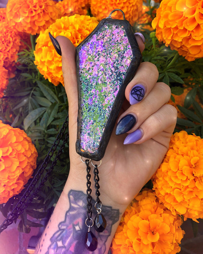 XL Dichroic Glass Coffin Statement Necklace