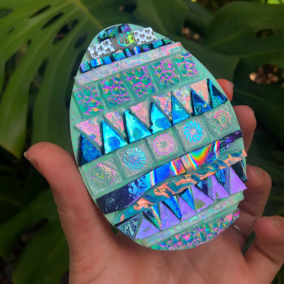 Blue mosaic Easter egg
