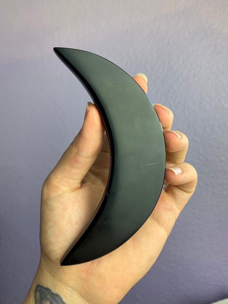 Obsidian Carved Moon