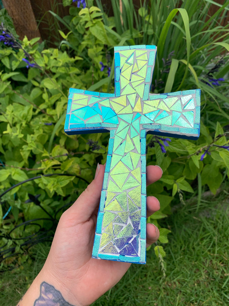 Blue Dichroic Glass Mosaic Cross