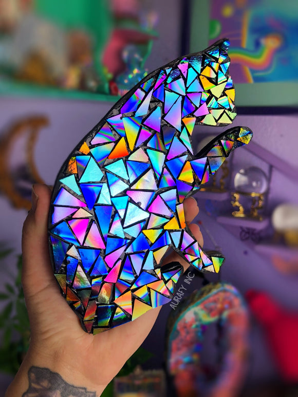 Dichroic glass mosaic cat