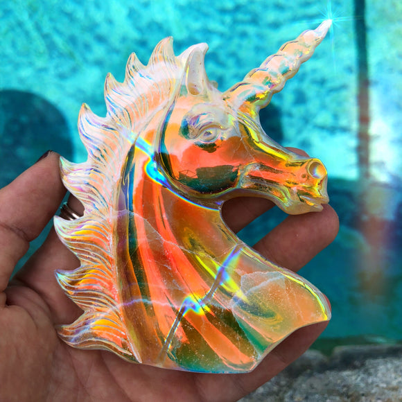 Rainbow Aura Orange Calcite Unicorn
