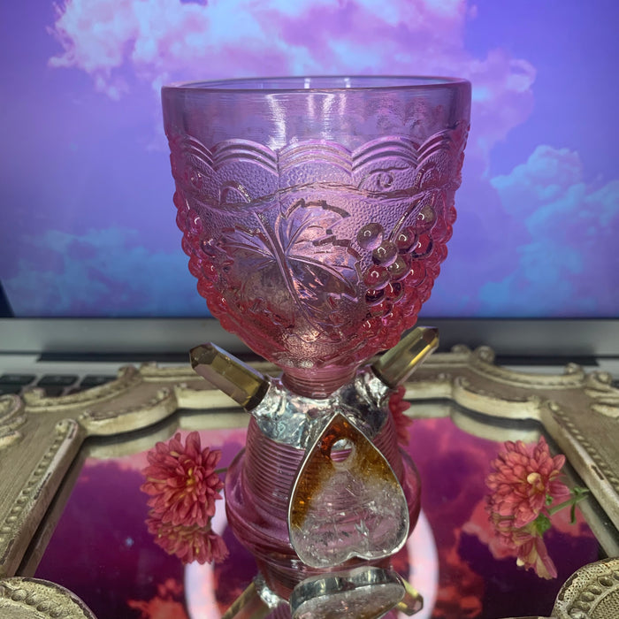 Vintage pink glass chalice for manifesting and divination