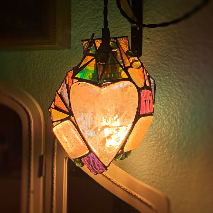 OOAK FuNkÿ Quartz & Dichroic Glass Hanging Lamp