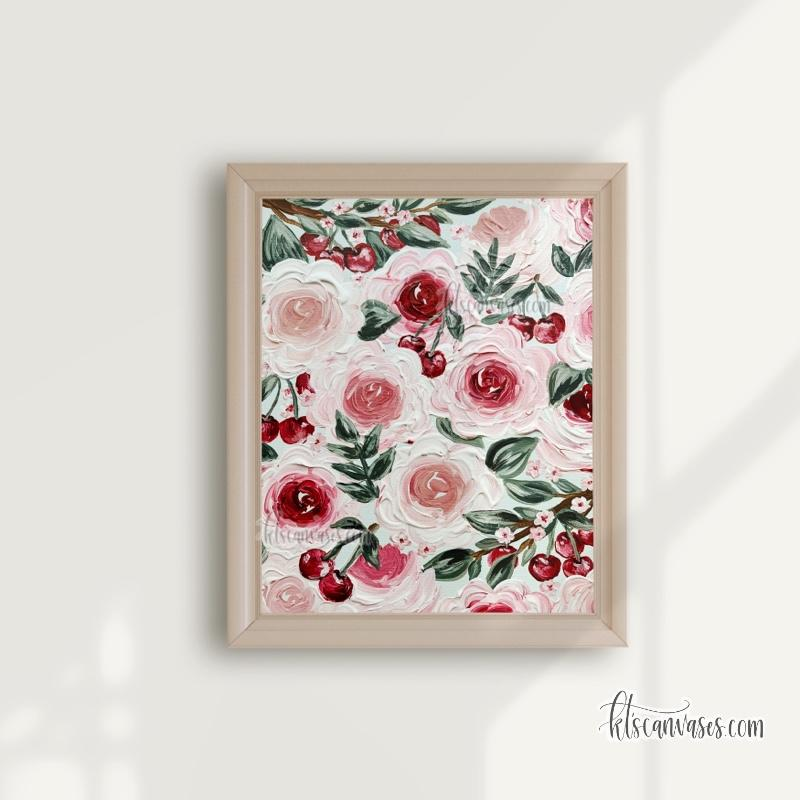 Cherry Florals Art Print