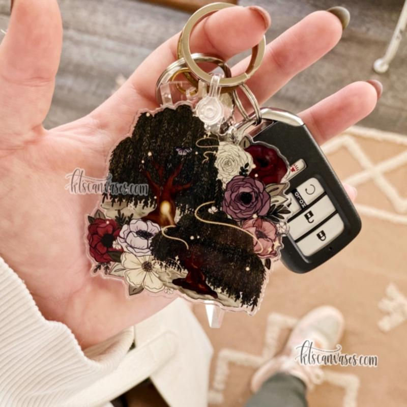 Whimsical Willow Tree Florals Keychain 3 in.