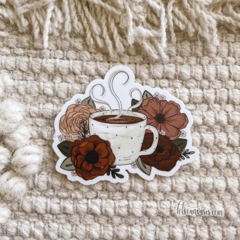 Coffee Florals Sticker