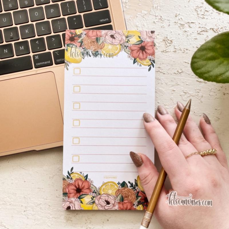 Lemon Florals Notepad 50 sheets (4 x 8 in.)