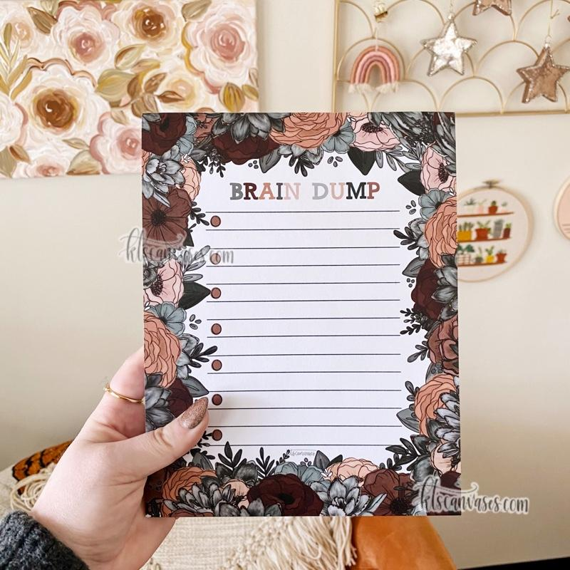 Brain Dump Succulent Floral Notepad 100 sheets (7 x 9 in.)