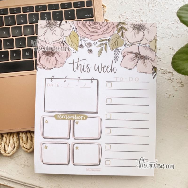 "PREORDER (approx. 4 week wait) ""This Week"" Floral Notepad 100 sheets (7 x 9 in.)"