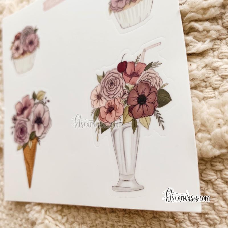 Floral Dessert Set of 4 Mini Stickers (1 sheet)