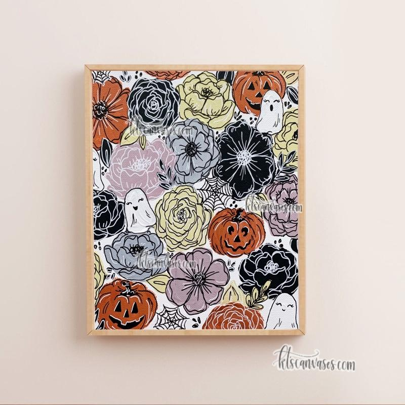 Spooky Pattern Pumpkins Set of 2 Art Prints