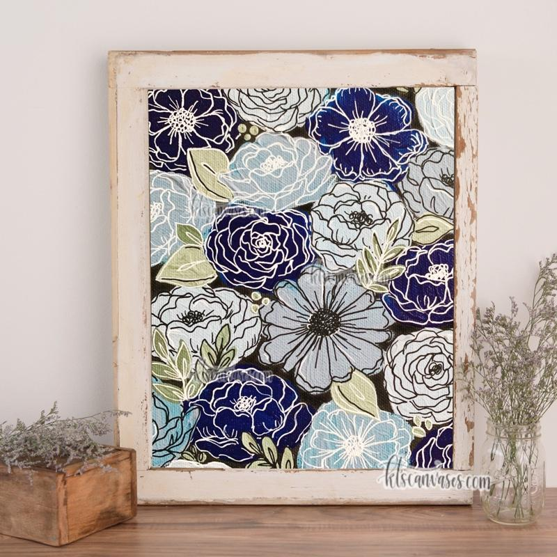 Blue Outlined Florals Art Print