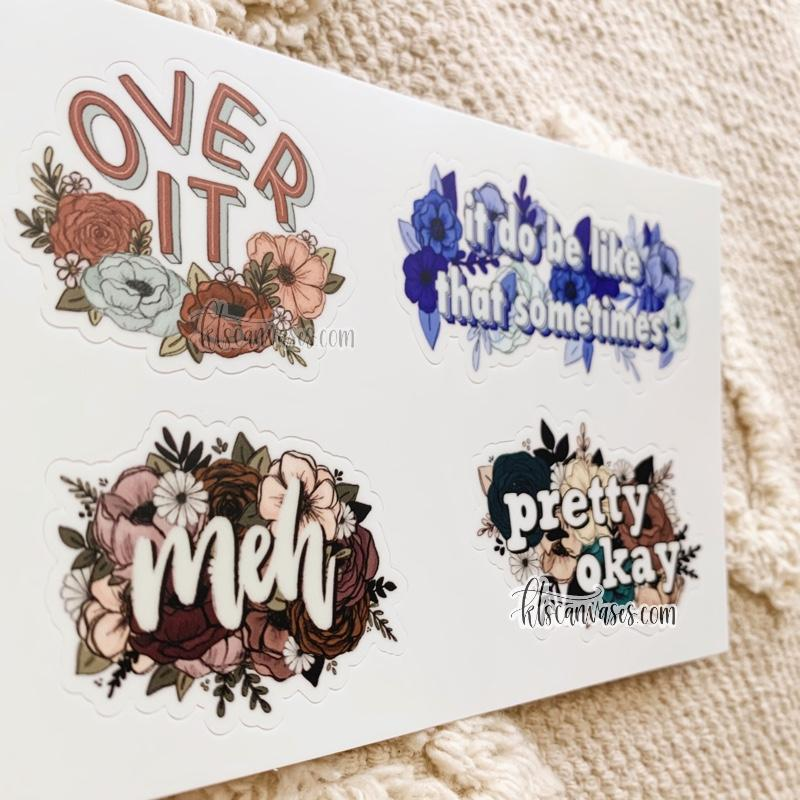 Over It Relatable Phrase Set of 4 Mini Stickers (1 sheet)