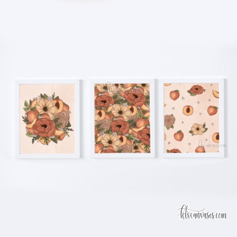 Peach Floral Art Print Set of 3