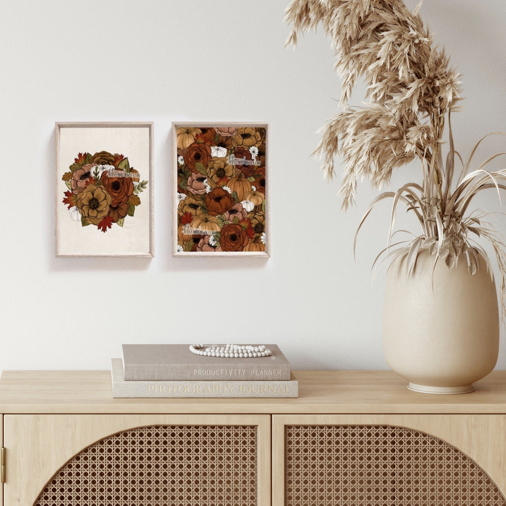 Fall Foliage Floral Set of 2 Art Prints
