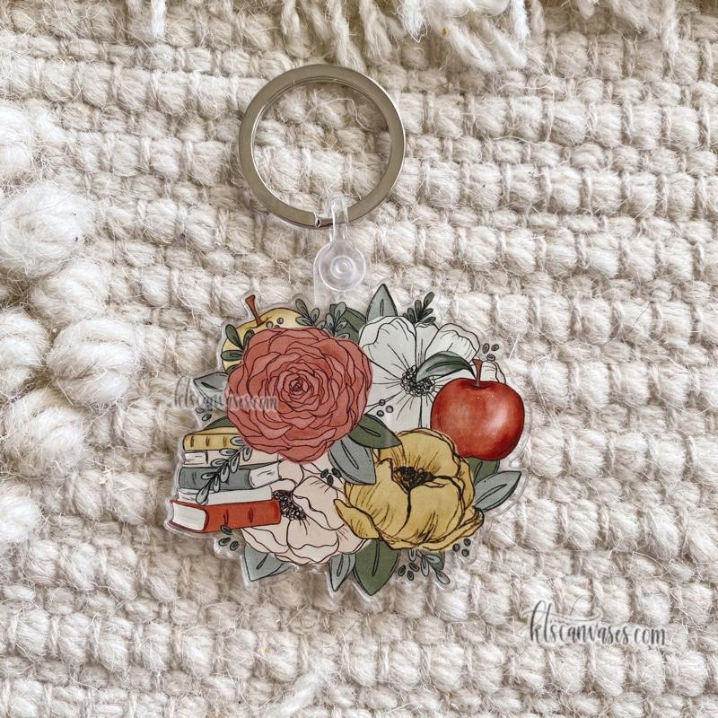 Educator Inspired Florals Keychain 2.5 in.
