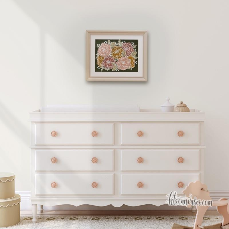 Peach + Golden Florals Art Print