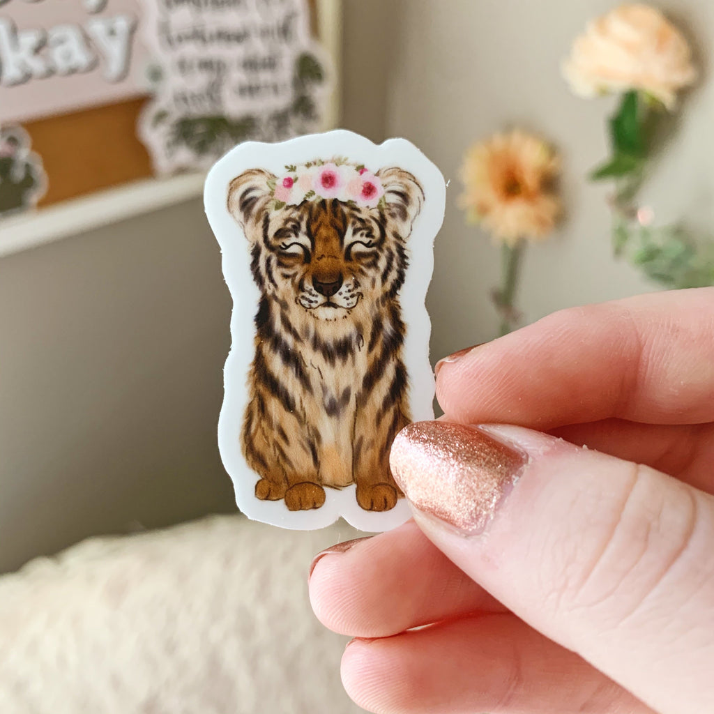 Mini Floral Crown Tiger Sticker