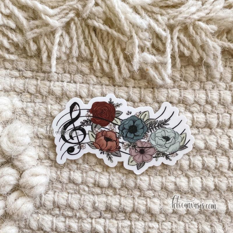 Music Inspired Florals Sticker