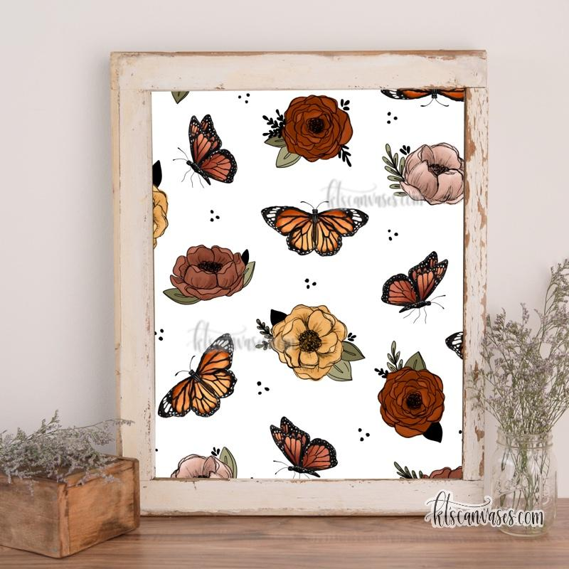 Floral Butterfly Pattern Art Print