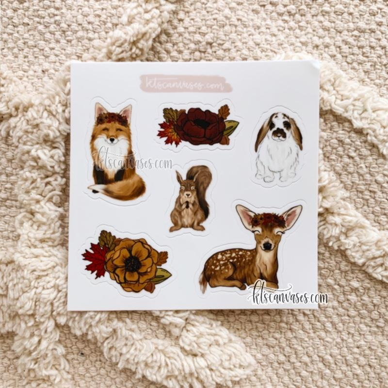 Fall Friends Set of 6 Mini Stickers (1 sheet)