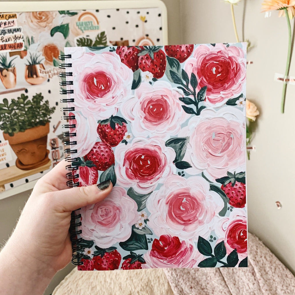 Strawberry 7 x 9 in. Spiral DOT GRID Notebook