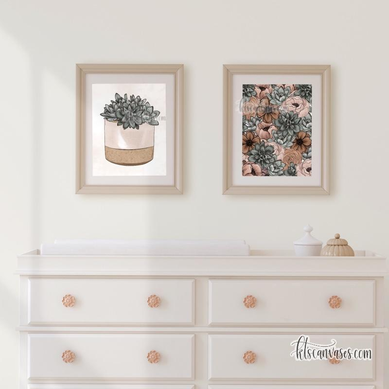 Potted Succulent Floral Set of 2 Art Prints