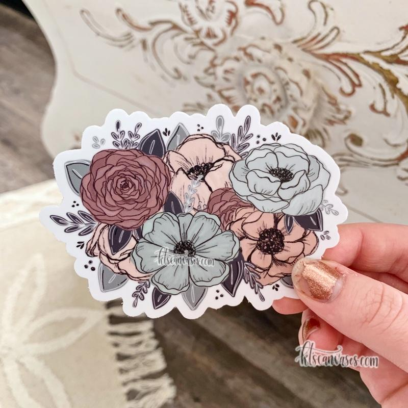 Peachy Mint Floral Sticker