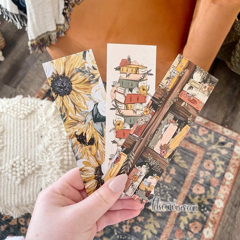 Bookshelf Floral Set of 3 Double Sided Bookmarks