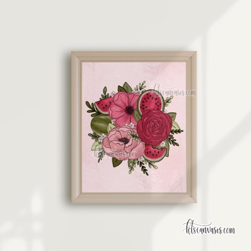 Watermelon Outlined Florals Art Print