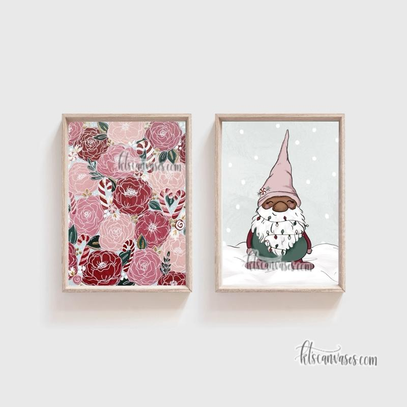 Candy Cane Florals Set of 2 Art Prints