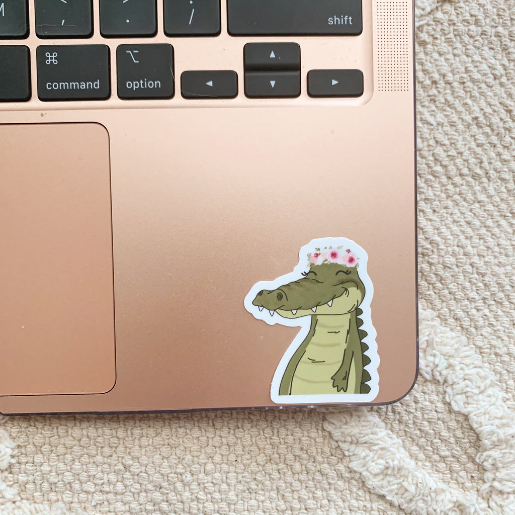 Mini Floral Crown Alligator Sticker
