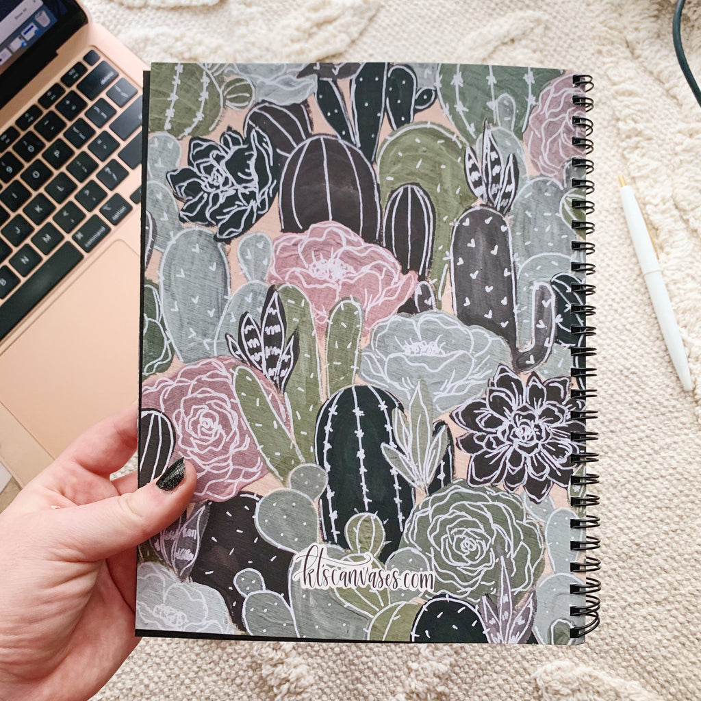 Cactus Florals 7 x 9 in. Spiral DOT GRID Notebook