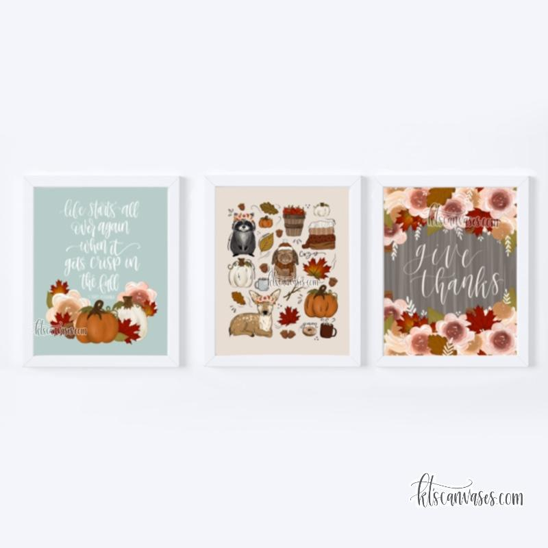 Floral Fall Art Print Set of 3