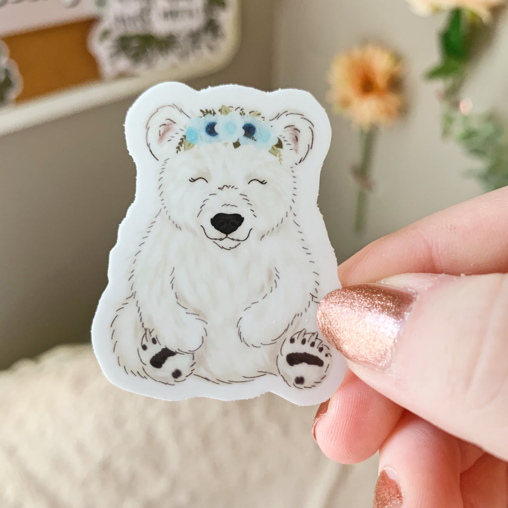 Mini Floral Crown Polar Bear Sticker