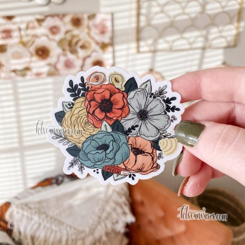 Speech-Language Pathologist Inspired Florals Sticker